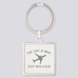 Sleep With A Pilot Square Keychain