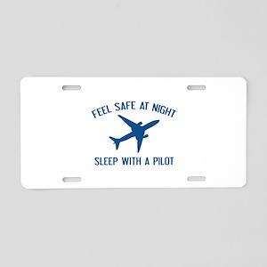 Sleep With A Pilot Aluminum License Plate