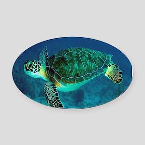 Ocean Turtle Oval Car Magnet