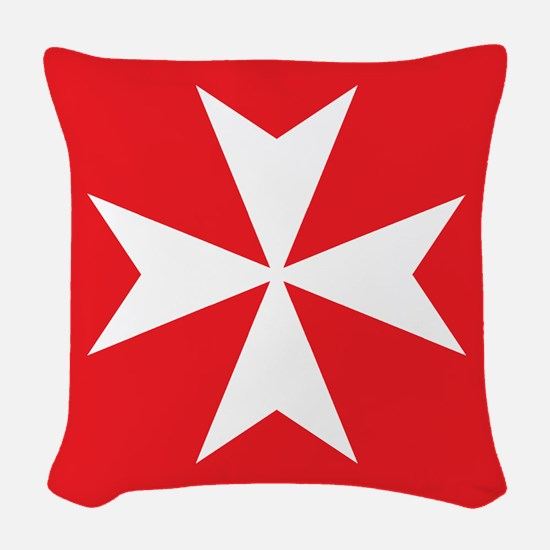 White Maltese Cross Woven Throw Pillow