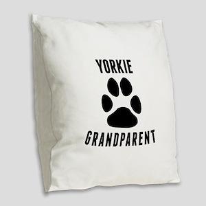 Yorkie Grandparent Burlap Throw Pillow