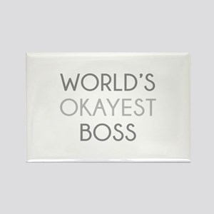 World's Okayest Boss Rectangle Magnet