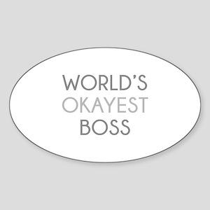 World's Okayest Boss Sticker (Oval)