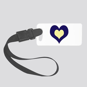 Twin Hearts Navy/cream Small Luggage Tag