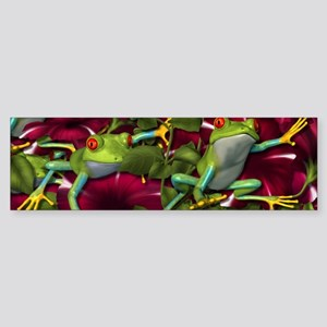 RED PETUNIA FROGS Bumper Sticker