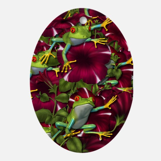 RED PETUNIA FROGS Oval Ornament