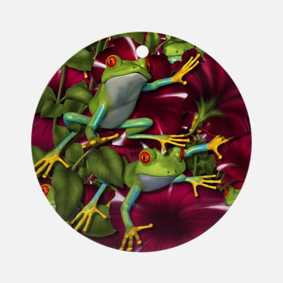 RED PETUNIA FROGS Ornament (Round)