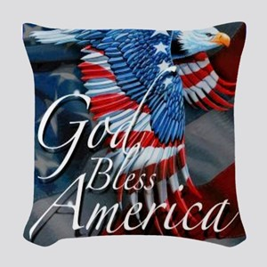 God Bless Woven Throw Pillow