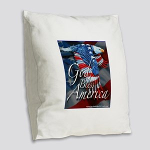 God Bless Burlap Throw Pillow