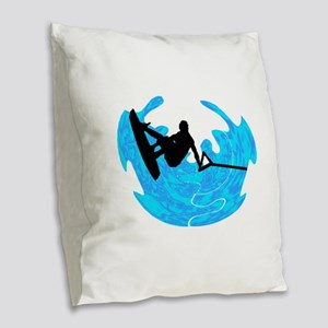 WAKEBOARD TIME Burlap Throw Pillow
