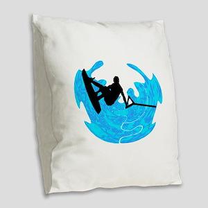 WAKEBOARD TIME Burlap Throw Pillow