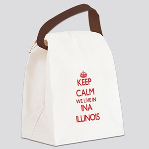 Keep calm we live in Ina Illinois Canvas Lunch Bag