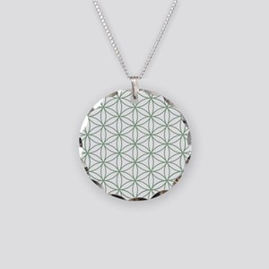 Flower of Life Ptn Grn/W Necklace Circle Charm