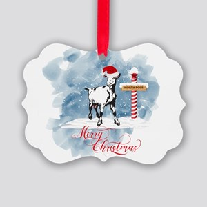 GOAT North Pole Merry Christmas Picture Ornament