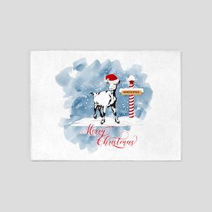GOAT North Pole Merry Christmas 5'x7'Area Rug