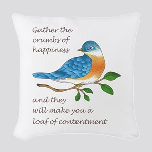 CRUMBS OF HAPPINESS Woven Throw Pillow