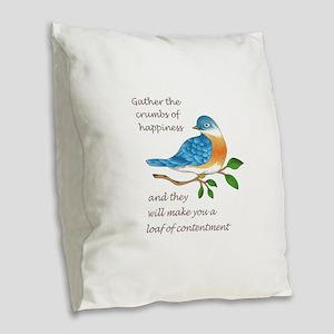 CRUMBS OF HAPPINESS Burlap Throw Pillow