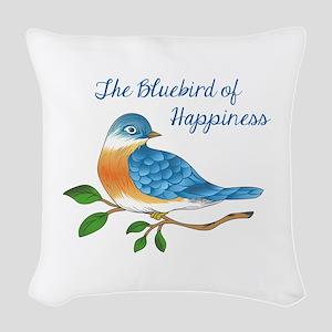 BLUEBIRD OF HAPPINESS Woven Throw Pillow
