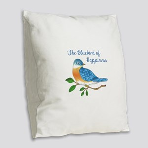 BLUEBIRD OF HAPPINESS Burlap Throw Pillow