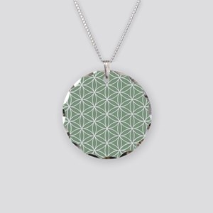 Flower of Life Big Ptn W/Grn Necklace Circle Charm