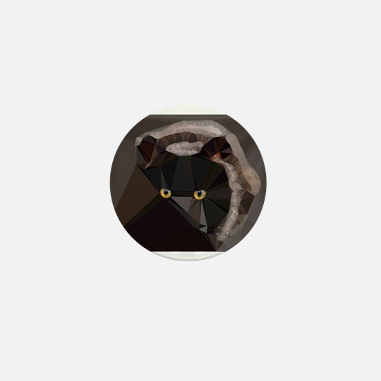 Cat Yellow Eyes Low Poly Triangles Mini Button