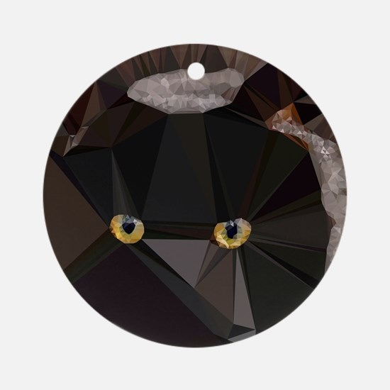 Cat Yellow Eyes Low Poly Triangles Round Ornament