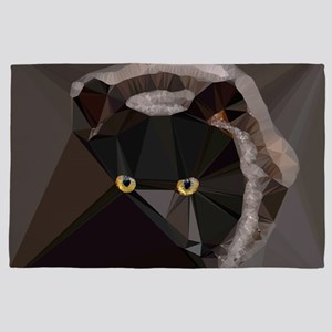 Cat Yellow Eyes Low Poly Triangles 4' x 6' Rug