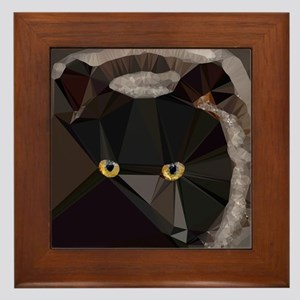Cat Yellow Eyes Low Poly Triangles Framed Tile
