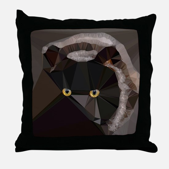 Cat Yellow Eyes Low Poly Triangles Throw Pillow