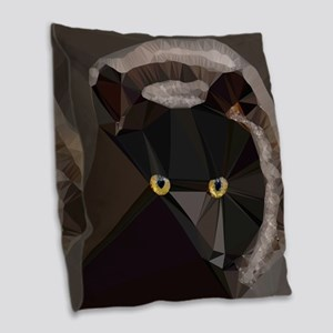 Cat Yellow Eyes Low Poly Triangles Burlap Throw Pi