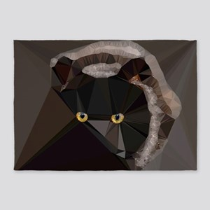 Cat Yellow Eyes Low Poly Triangles 5'x7'Area Rug