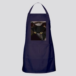 Cat Yellow Eyes Low Poly Triangles Apron (dark)