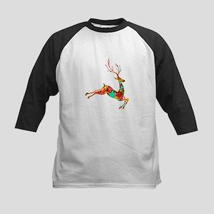 Flying Reindeer Kids Baseball Jersey