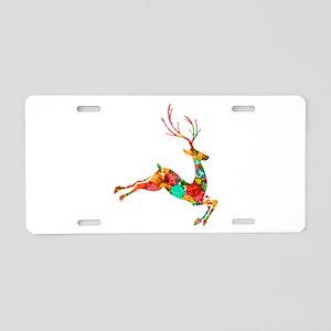 Flying Reindeer Aluminum License Plate