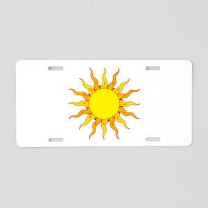 Grunge Sun Aluminum License Plate