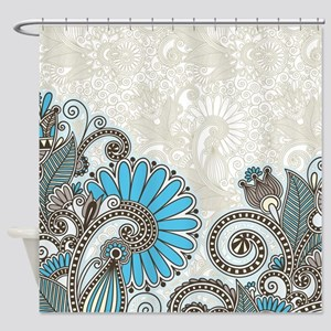 Paisley Shower Curtain In Turquoise And Brown