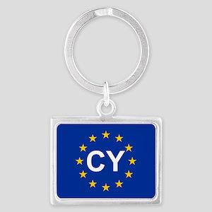 sticker CY blue 5x3 Keychains