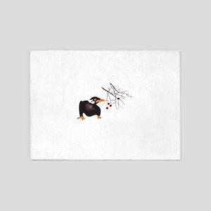 BLACKBIRD AND BERRIES 5'x7'Area Rug