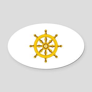 DHARMA BUDDHISM WHEEL Oval Car Magnet