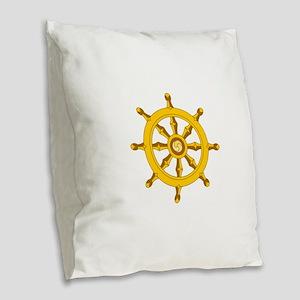 DHARMA BUDDHISM WHEEL Burlap Throw Pillow