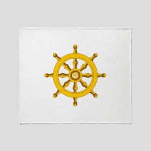 DHARMA BUDDHISM WHEEL Throw Blanket