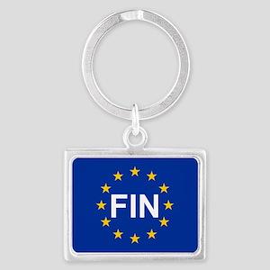 sticker fin blue 5x3 Keychains