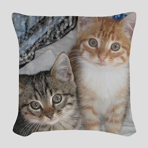 Tabby Kitty Cats Woven Throw Pillow