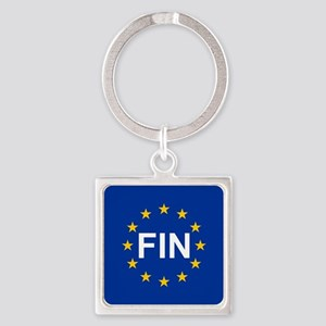 sticker fin blue 10x10 Keychains