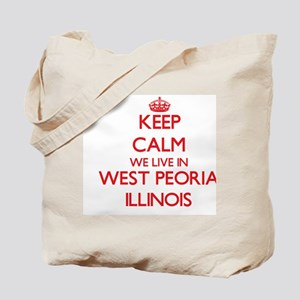 Keep calm we live in West Peoria Illinois Tote Bag