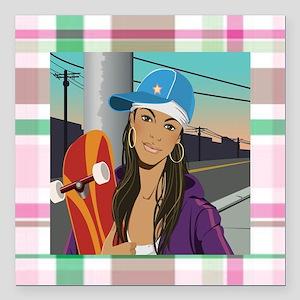 "skateboard Square Car Magnet 3"" x 3"""