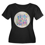 Peace in Women's Plus Size Scoop Neck Dark T-Shirt