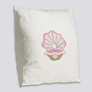 OYSTER WITH PEARL Burlap Throw Pillow