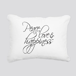 Peace Love Happiness - Rectangular Canvas Pillow