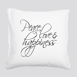 Peace Love Happiness - Square Canvas Pillow